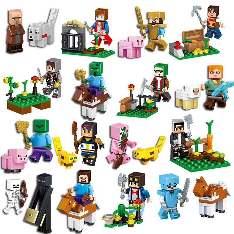 16Pcs/Lot Minecrafted Steve Alex Zombie Enderman Reuben Skeleton Weapon Action Figures Toys Compatible With LegoINGlys Blocks
