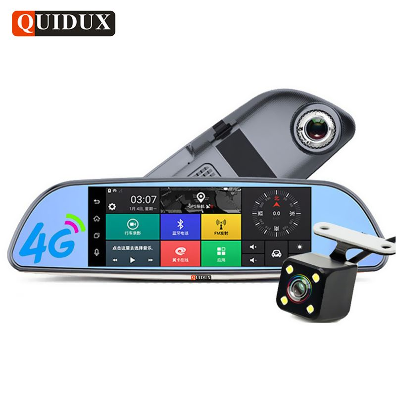 QUIDUX 4G Car DVR Full HD 1080P Android GPS Navigation ADAS 7.0 Inch Rearview mirror video camera Recorder Car Detector dashcam