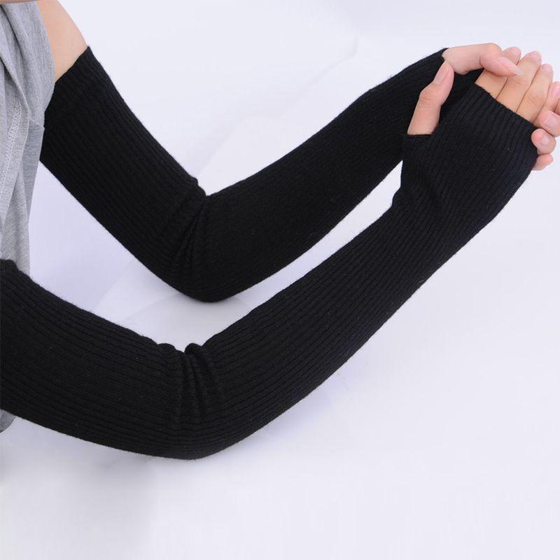 Autumn Winter Women Cashmere Wool Knit Gloves 2017 New Warm Soft White Female Long Fingerless Gloves