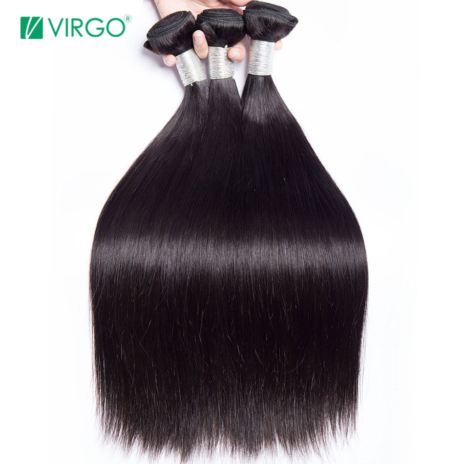 Brazilian Straight Hair Bundles Human Hair Weave Bundles 1 / 3 PCS Virgo Hair Company Natural Remy Hair Extensions Last Longer
