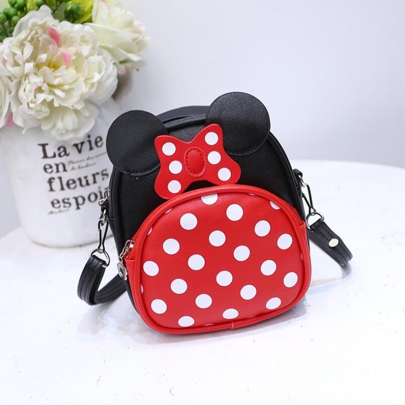 Cartoon Dot Children Mini Shoulder Bags for Kids Girls PU Leather Messenger Bags Women Cross body Bag girl minnie bag