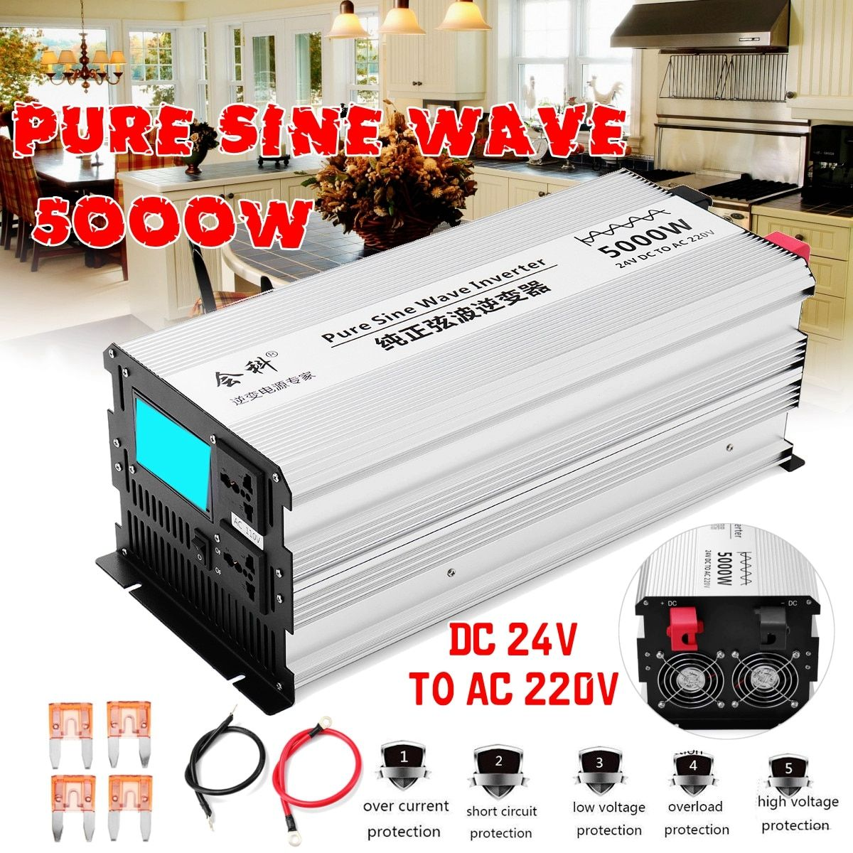 Inverter reine sinus welle 2500 watt 5000 watt Peak 50 hz DC 12 v/24 v/48 v zu AC 110 v/220 v Spannung Transformator Converte LED-display-Inverter