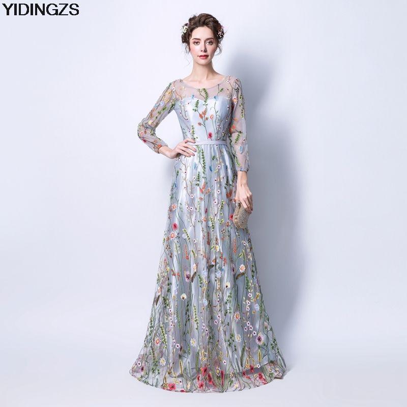 YIDINGZS Women's Formal Dress Gray Zipper Back Flowers Embroidery Long Sleeves Evening Dress Party Robe De Soiree