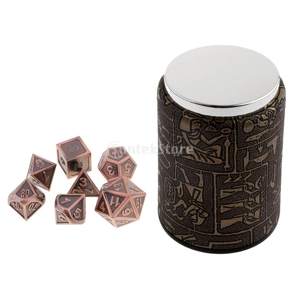 7 Set Metal Polyhedral Dice for Dungeons and Dragons DND MTG +Dice Cup #9
