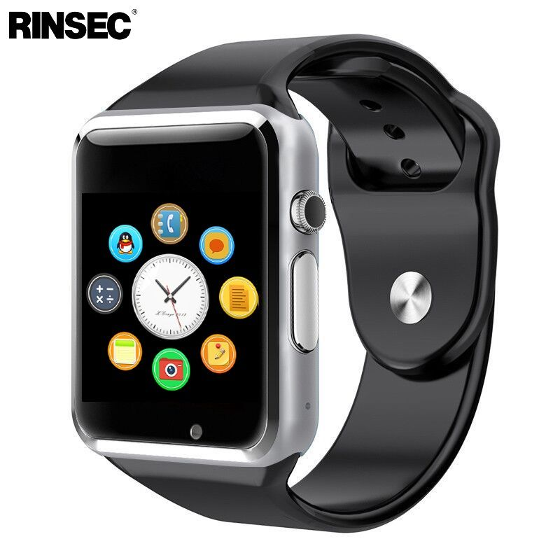 Rinsec A1 Smart Watch Clock Sync Notifier Support SIM TF Card Connectivity Apple iphone Android Phone Smartwatch
