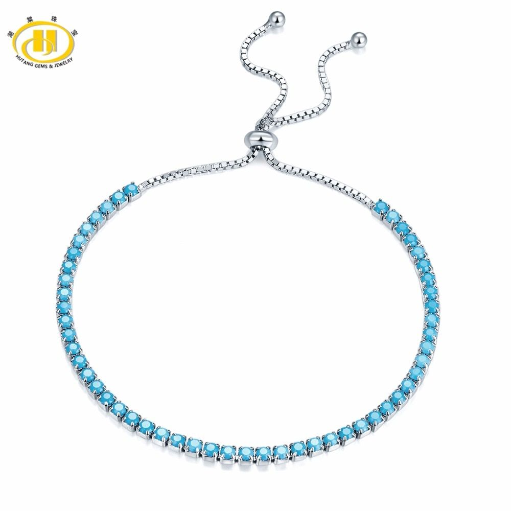 Hutang Solid 925 Sterling Silver Nano Turquoise Bracelets for Women's Girl's Fine Jewelry Adjustable Bracelet Christmas Gift New