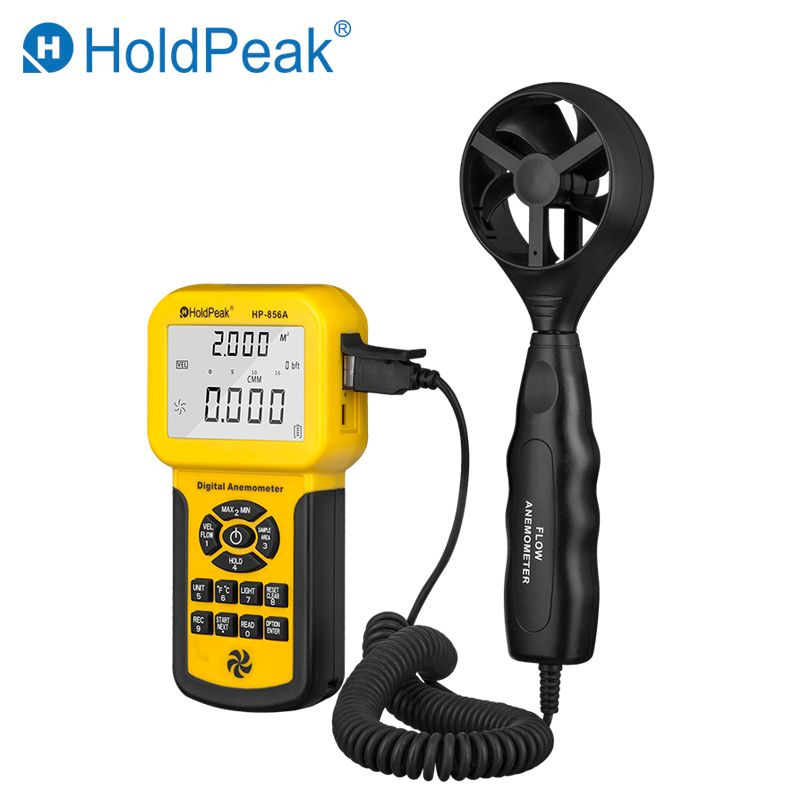 Digital Wind Speed Air Volume Meter HoldPeak HP-856A Anemometer USB/Handheld with Data Logger Temperature Range Data record