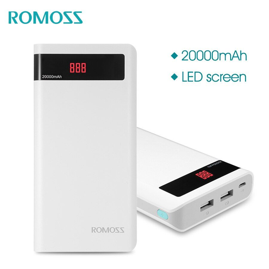 ROMOSS Sense 6P 20000mAh Power Bank Portable External Battery with LED Display Dual USB Fast Charger for iPhoneX Samsung S8 iosx