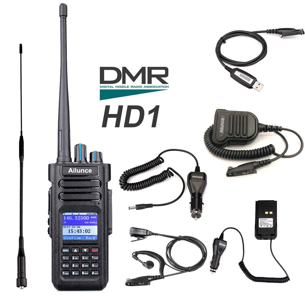 Retevis Ailunce HD1 Dual Band DMR Digital Walkie Talkie DCDM TDMA VHF UHF Ham Radio Hf Transceiver Amateur Radio + Accessories