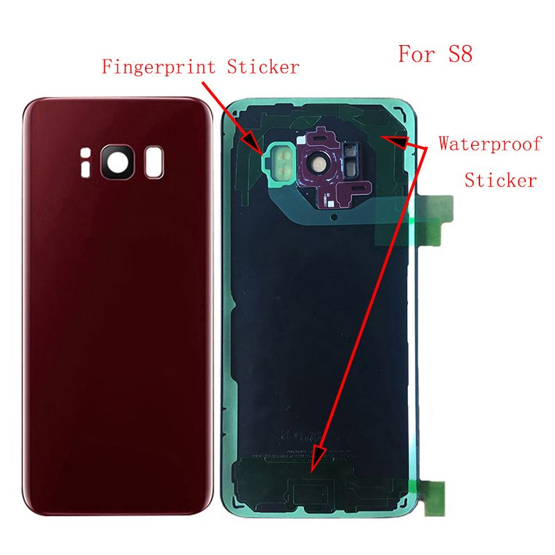 LOVAIN 10Pcs For Samsung Galaxy S8 G950F S8 Plus G955F Back Battery Cover Rear Glass Housing Case+Camera Len+IMEI Print