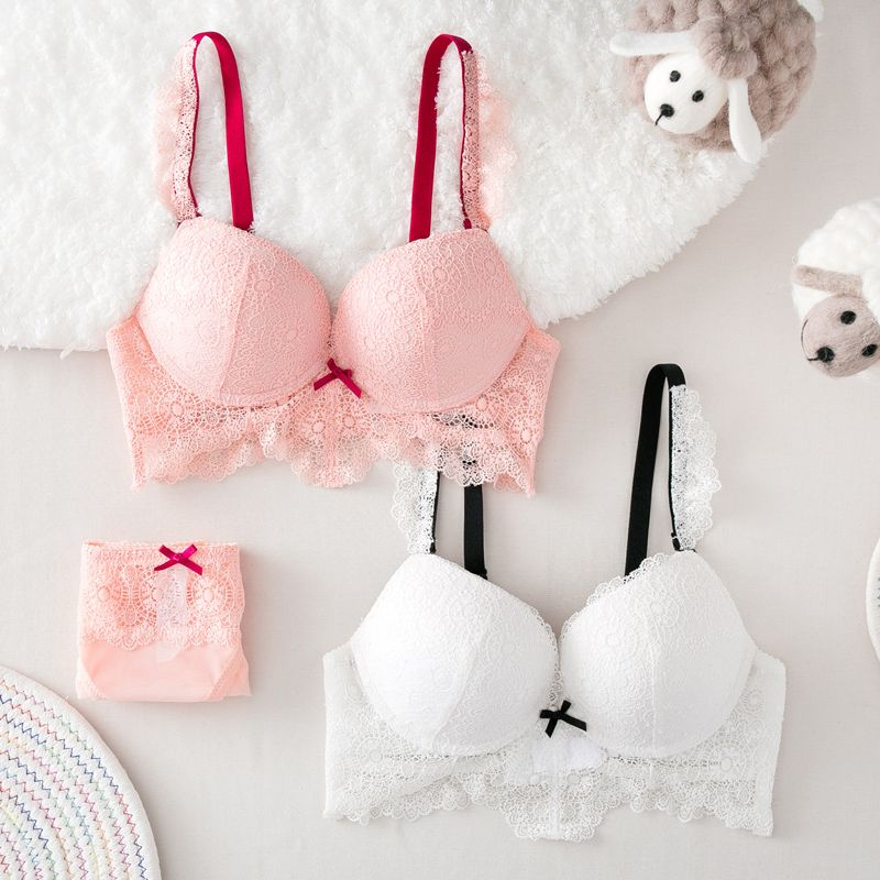 Femal Intimates Floral Lace Sexy Lingerie Set Hollow Out Back Underwear Women Push Up Bra Set Gather Lace Bra And Panty ABC Cup