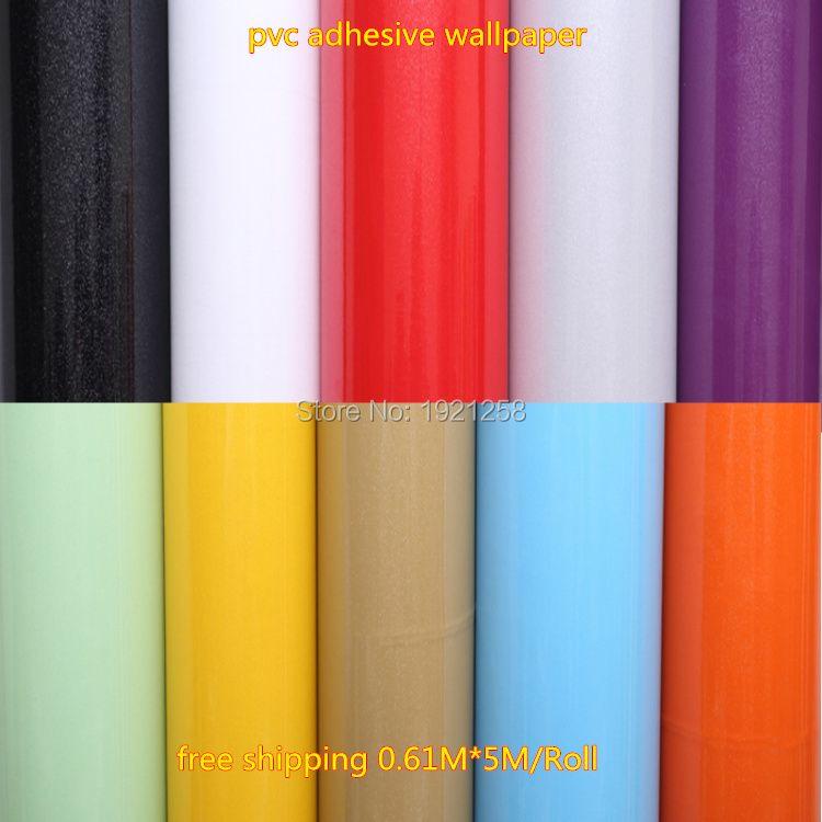 0.61*5 m Vinyle Auto-Adhésif Papier Peint Rouleau pour Meubles Salle De Bain Cuisine PVC Autocollants papier Peint feuille meubles armoire porte