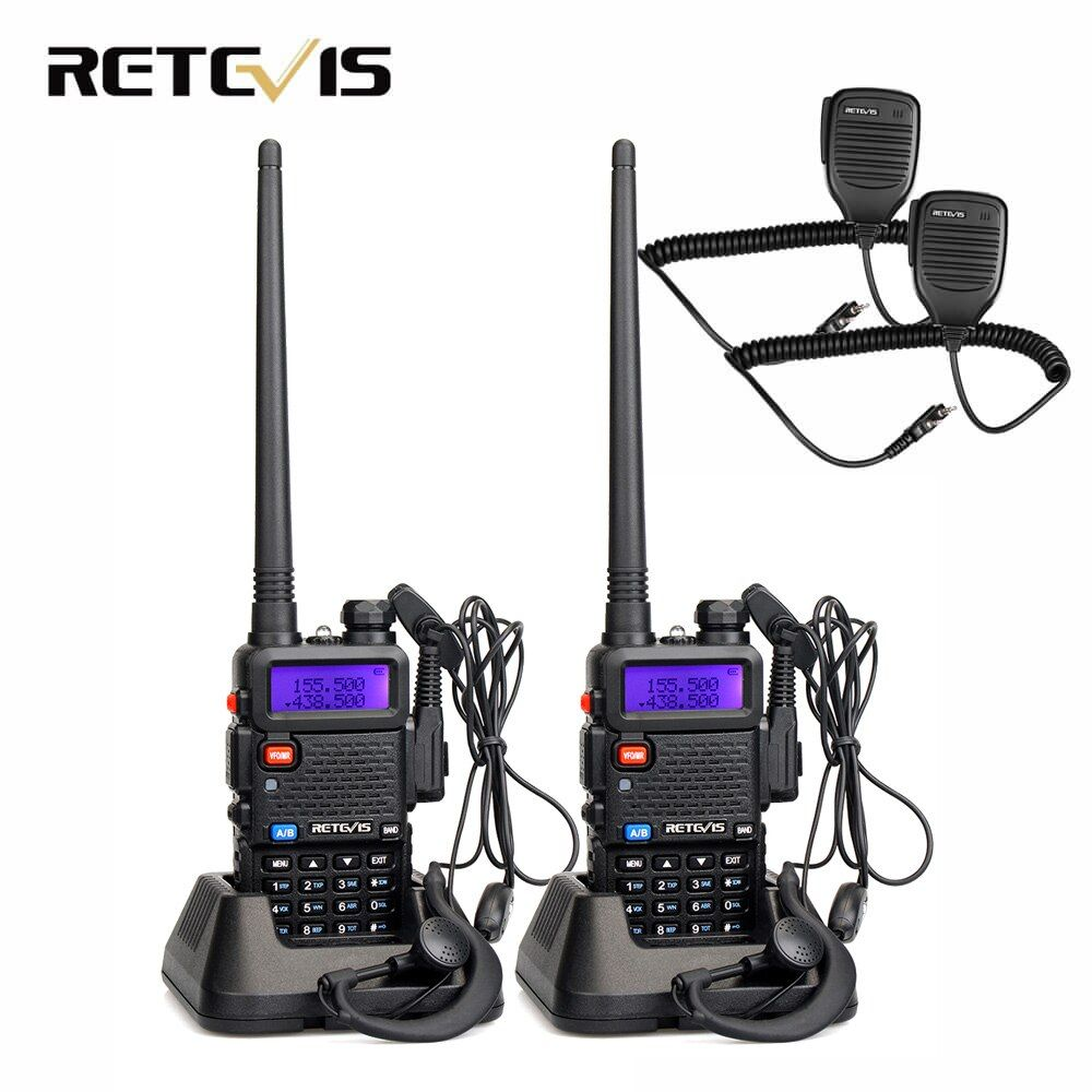 2pcs Speaker Microphone + 2pcs Walkie Talkie Retevis RT5R 5W 128CH Dual Band UHF VHF Radio Handheld Transceiver Walkie-Talkie