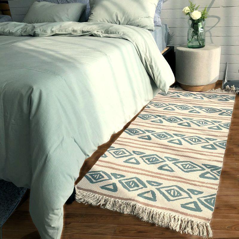Nordic style handmade cotton bedside carpet 70*160cm , long size rug for kitchen,bathroom ground mat ,cloakroom floor mat