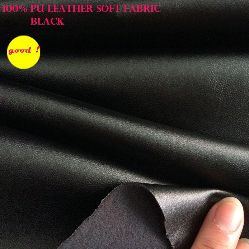 Bon 69*50 cm Synthétique En Cuir Noir Faux Cuir Tissu PU Vêtements En Cuir Tissu En Cuir Synthétique Tissu À Coudre Bricolage pantalon