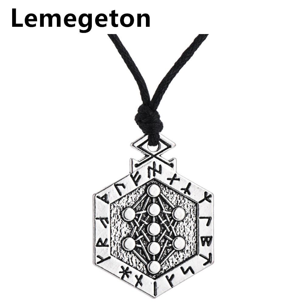Lemegeton Runes Talisman Yggdrasil Arbre de Vie Pendentif Vintage Réglable Chaîne Collier Personnalisé Bijoux pour Hommes et Femmes