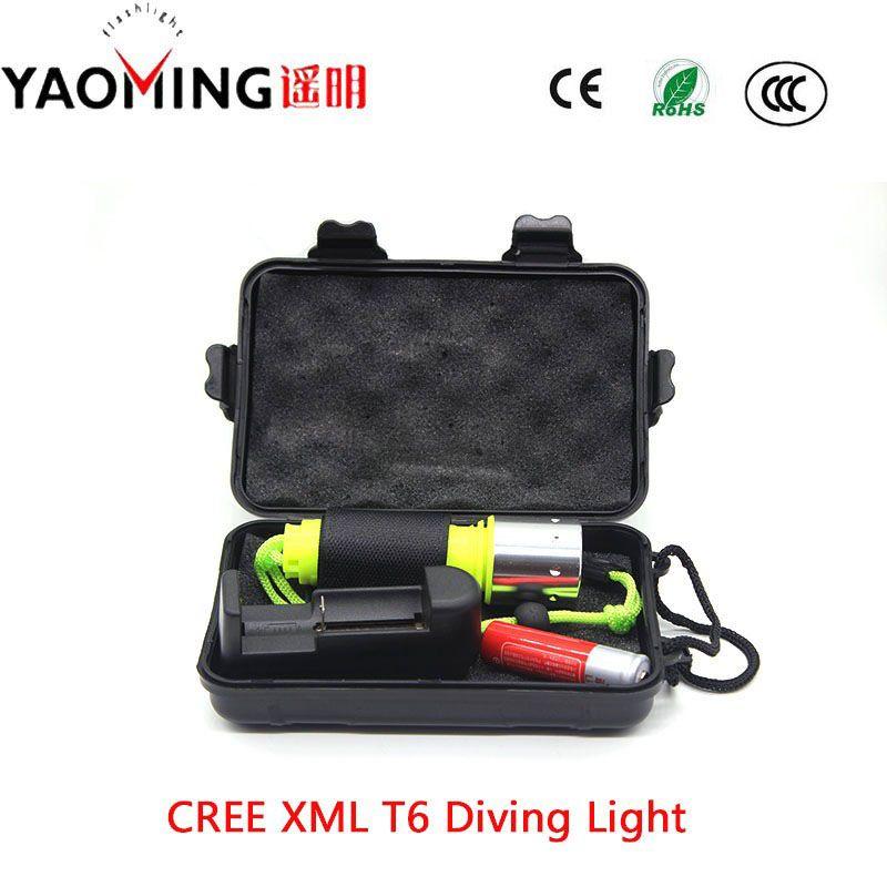 100% Auténtico CREE XM-L T6 3800LM 10 W luz lámpara led linternas linternas de buceo de buceo para el buceo bajo el agua linterna