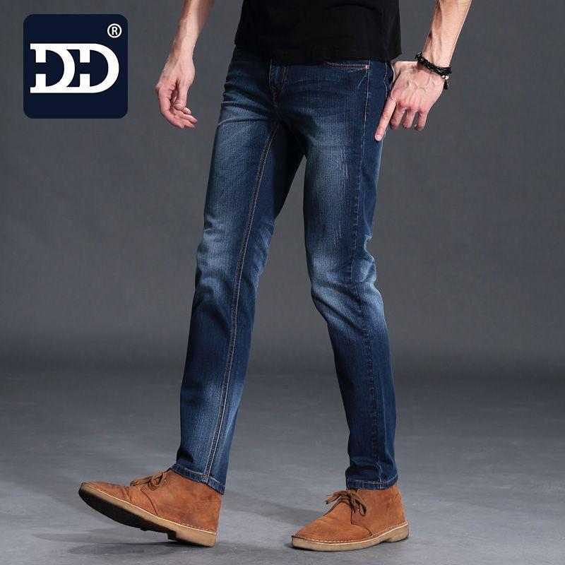 Dingdi Exclusive Men Deep Blue Jeans <font><b>Homme</b></font> Slim Elastic Factory Jeans Men Straight Jeans Men Quality Mens Designer Jeans Pants