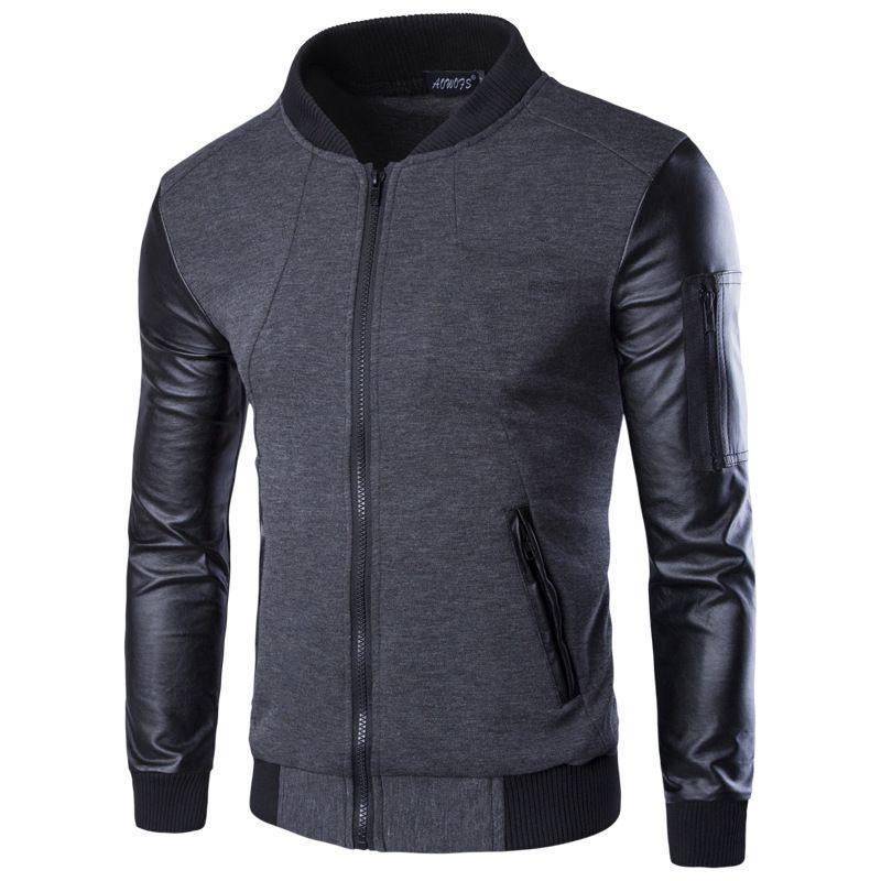 Men Hoodies Patchwork Leather Sleeve Fashion Hoodies Brand Sweatshirt Men Jacket Coat Casual Coat Pullover Tracksuits Masculino