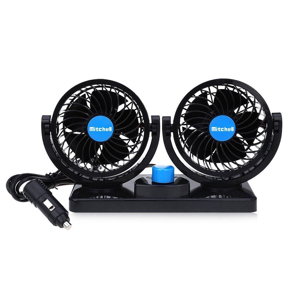 12V Mini Electric Car Fan Low <font><b>Noise</b></font> Summer Car Air Conditioner 360 Degree Rotating 2 Gears Adjustable Car Fan Air Cooling Fan
