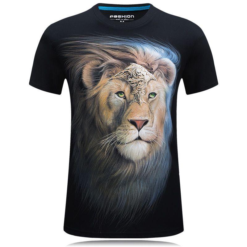 Été Hommes T-shirt blanc lion imprimé 3d tshirt homme décontracté Hipster t-shirts hommes Coton camisetas hombre Cool Conception hauts