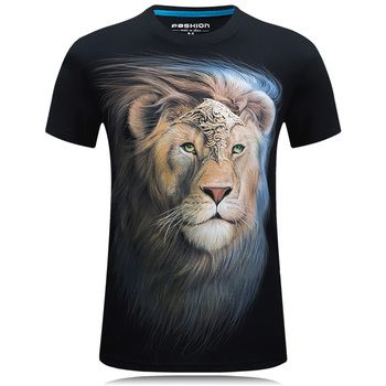 Summer Men white T-shirt lion printed 3d tshirt homme casual Hipster Tees shirts male Cotton camisetas hombre Cool Design Tops