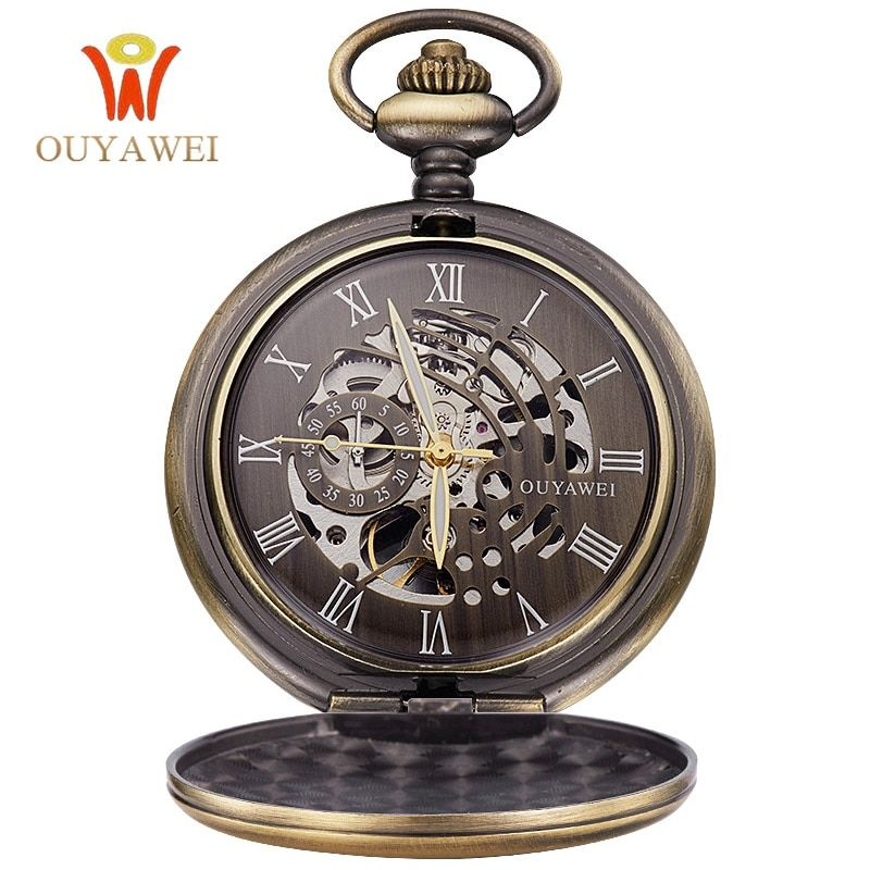 OUYAWEI Antique Skeleton Mechanical Pocket Watch gift Men Chain Necklace Business Casual Pocket & Fob Luxury watches clock