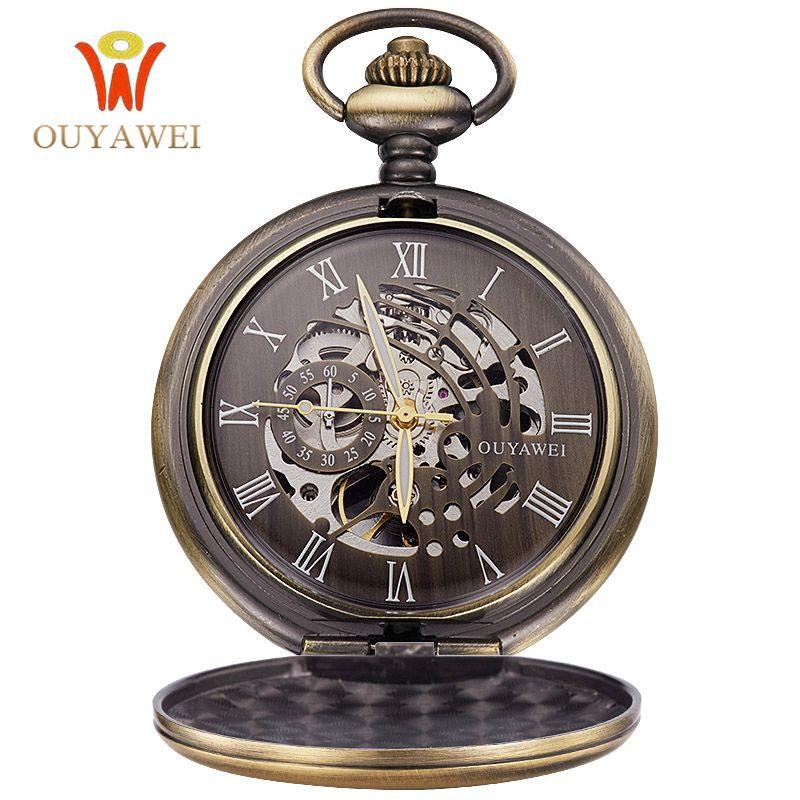 Ouyawei esqueleto antiguo reloj de bolsillo mecánico regalo collar de cadena de los hombres negocios casual bolsillo y fob relojes de lujo reloj