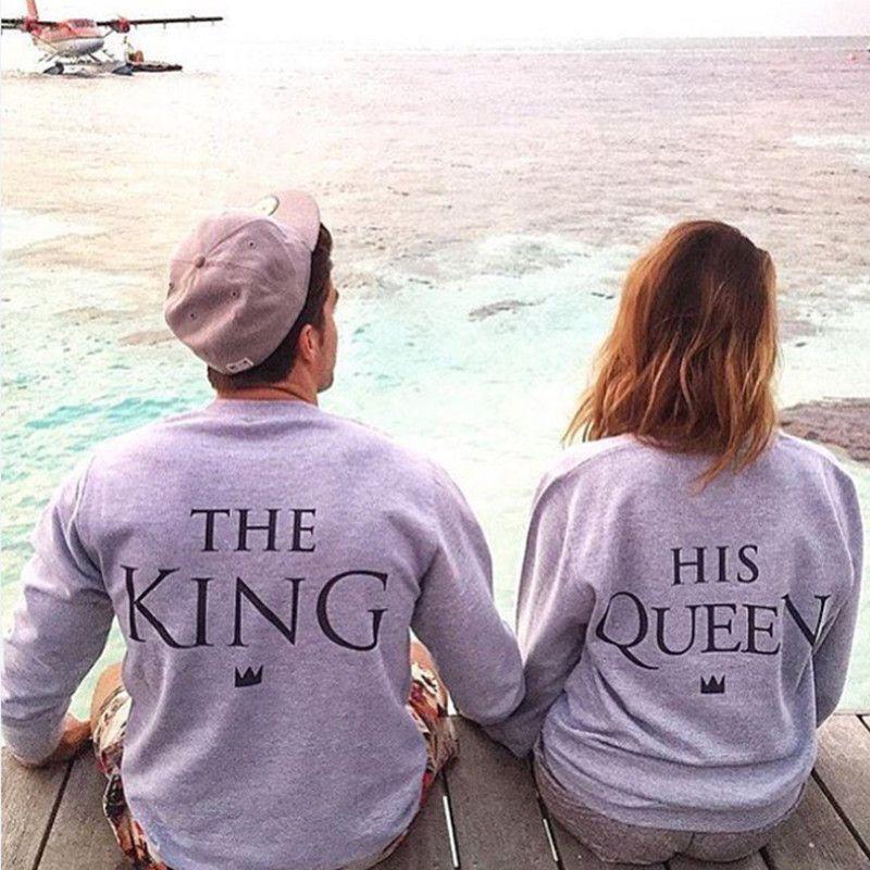 EAST KNITTING H1071 2017 New Fashion Couples Sweatshirts KING QUEEN Casual Long Sleeve Pullovers Hoodies Lovers Sweatshirt