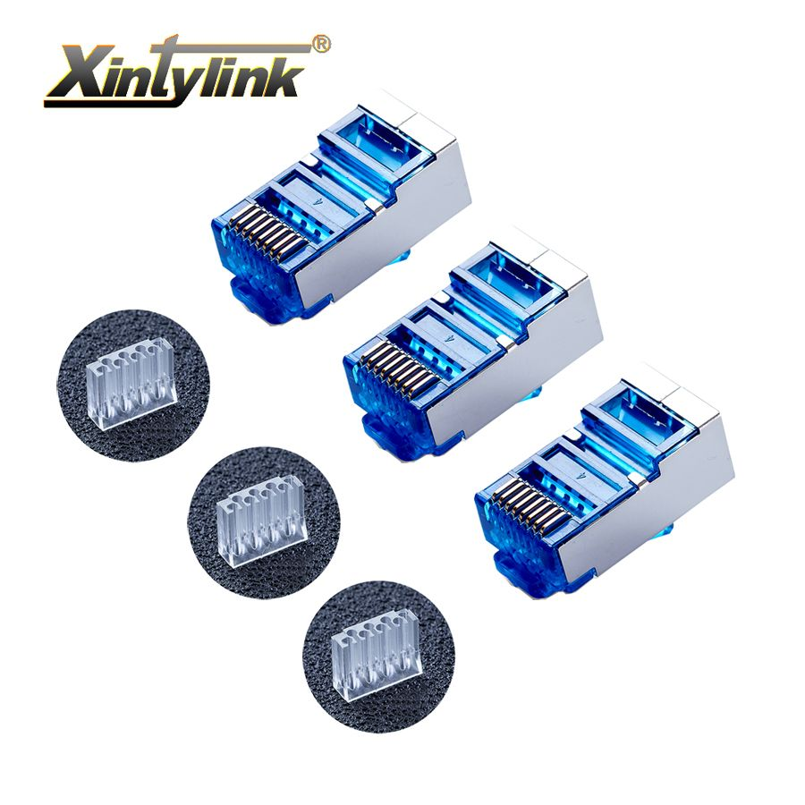 xintylink rj45 connector cat6 rj 45 ethernet cable plug 8P8C cat 6 metal shielded terminals network load bar modular blue 50pcs