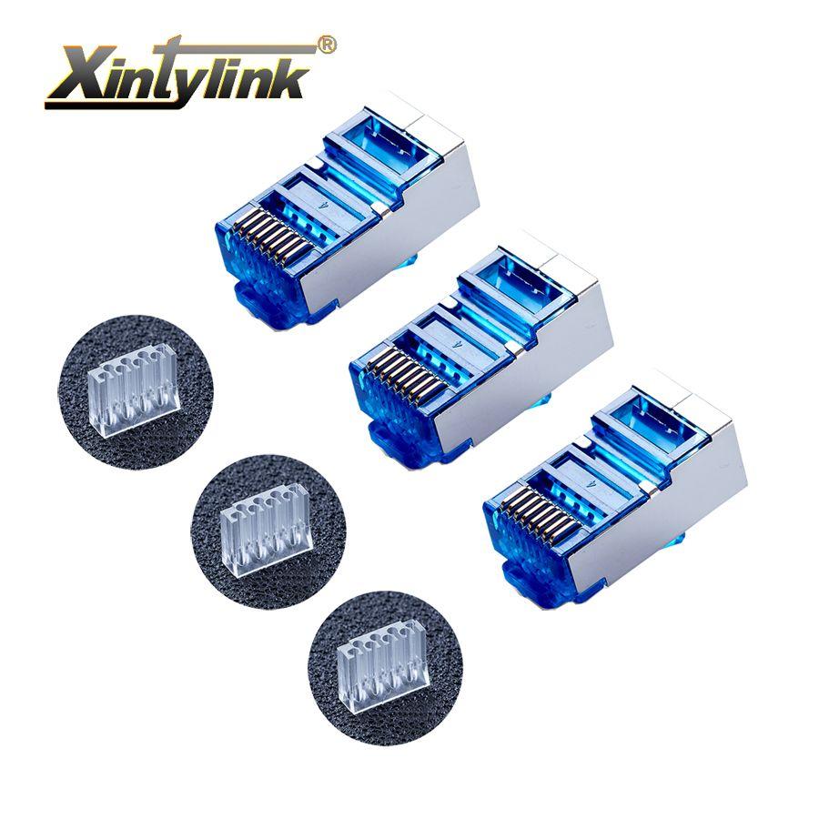 xintylink 50pcs blue rj45 connector cat6 8P8C metal shielded rj45 plug terminals network connector load bar split type modular