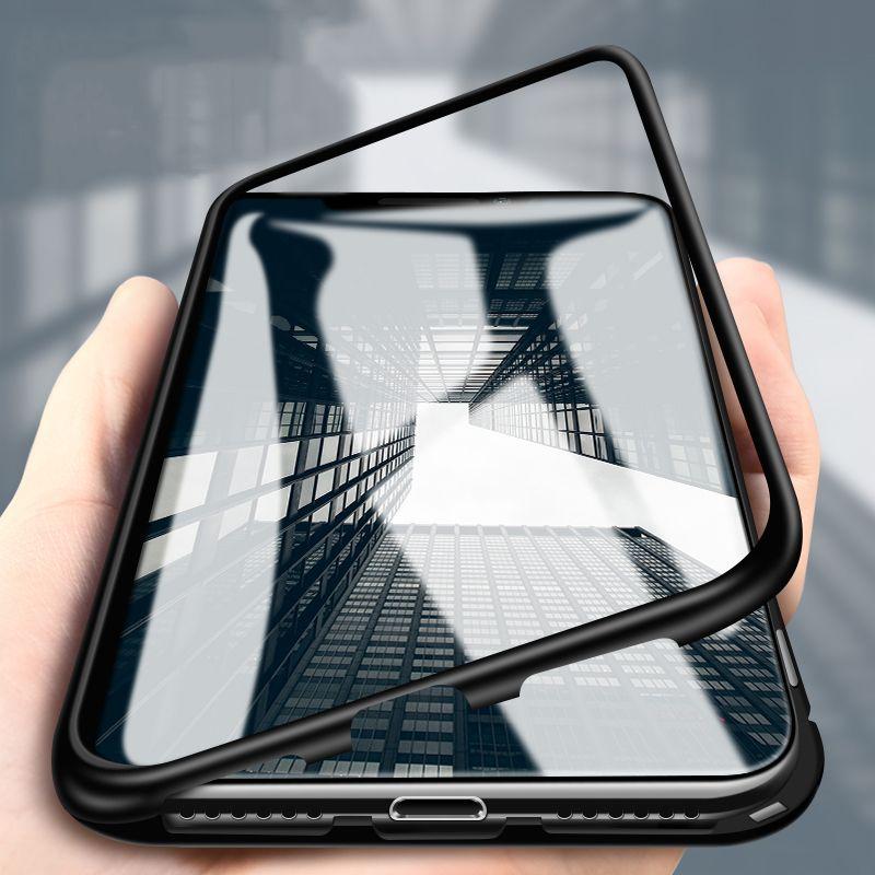En aluminium Magnétique Cas Pour iPhone 7 8 6 6 s Plus Trempé Verre Retour Métal Cadre Pleine Couverture Flip Cas pour iPhone XS Max XS XR X