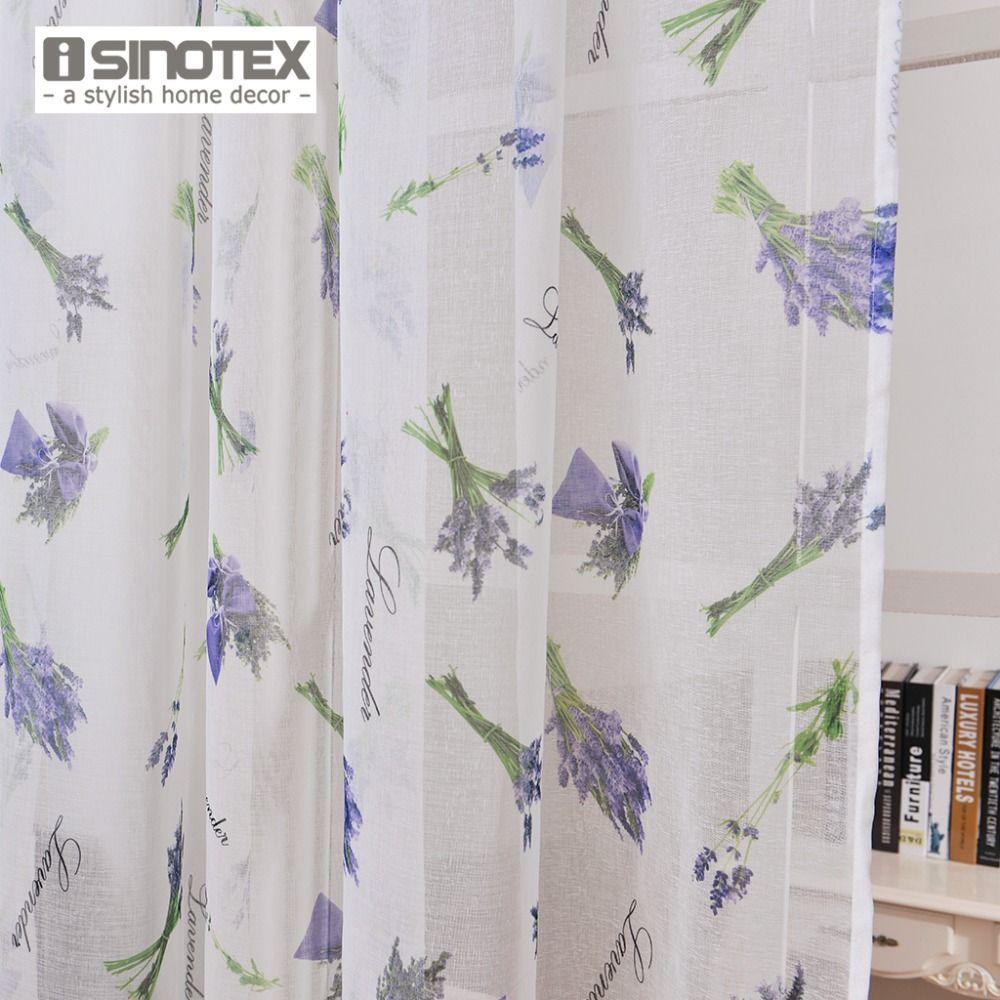 ISINOTEX Fenêtre Rideau Lavande Imprimé Motif Transparent Sheer Lin et Coton Tissu Pour La Maison Salon Dépistage 1 PCS/Lot