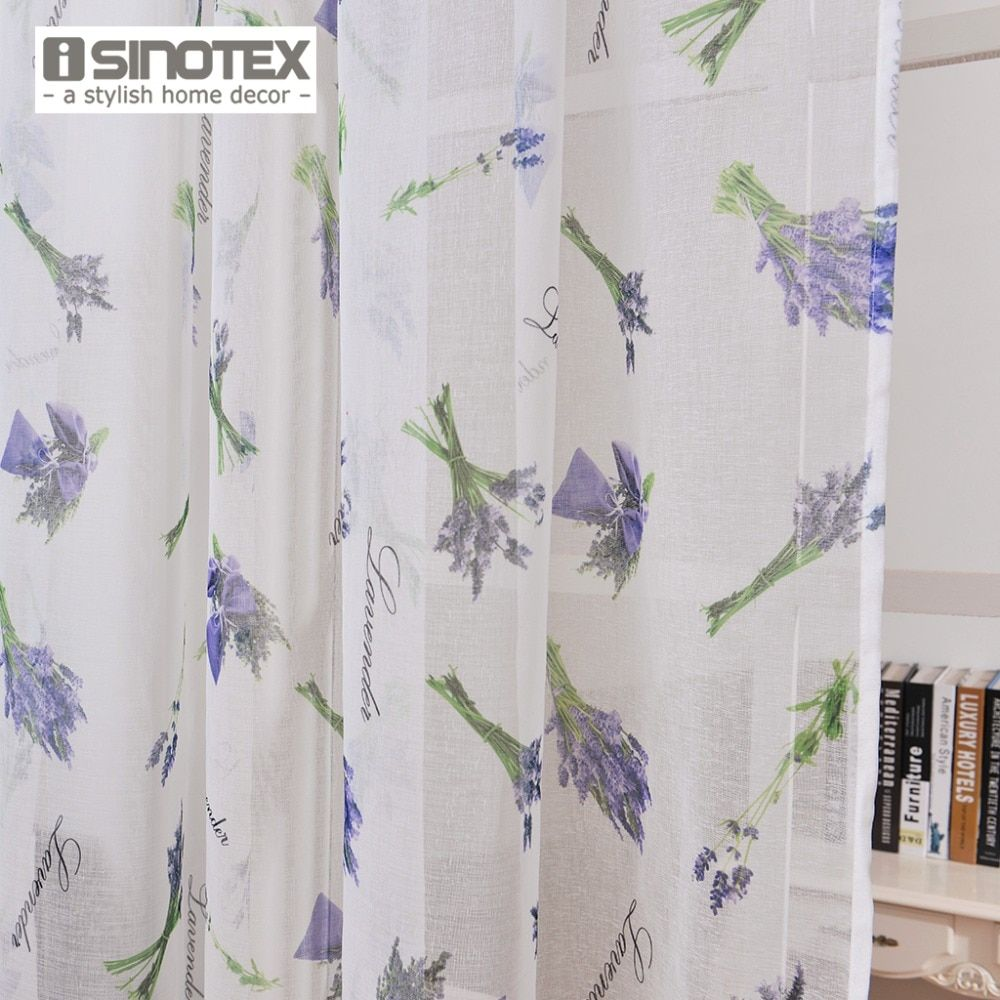 ISINOTEX Fenster Vorhang Lavendel Gedruckt Muster Transparent Sheer Leinen & Baumwollgewebe Für Zuhause Wohnzimmer Screening 1 Teile/los