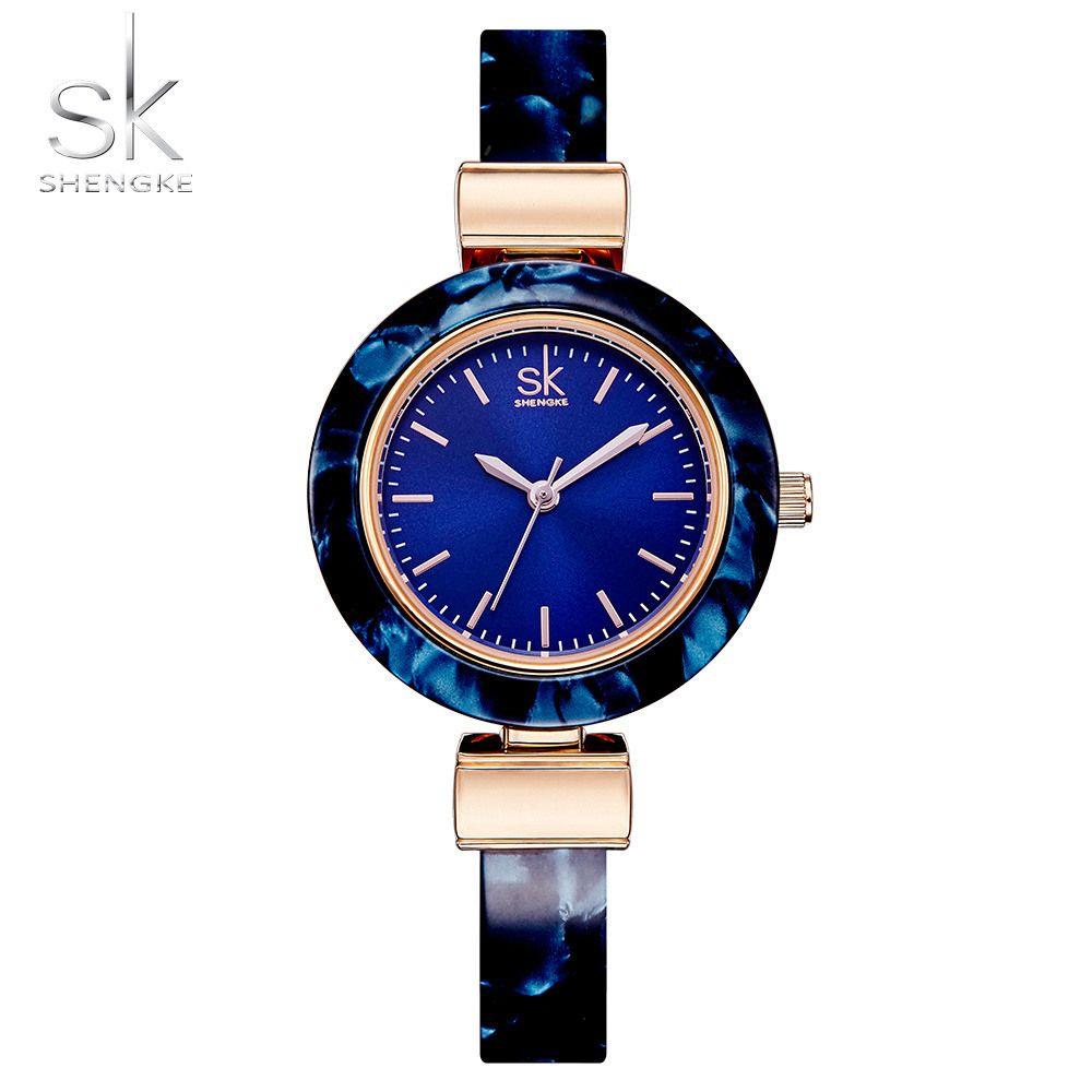 Shengke Women Watches Bangles Fashion Wristwatch Charming Chain Style Watch Women Creative Unique Women Dress Watch 2018
