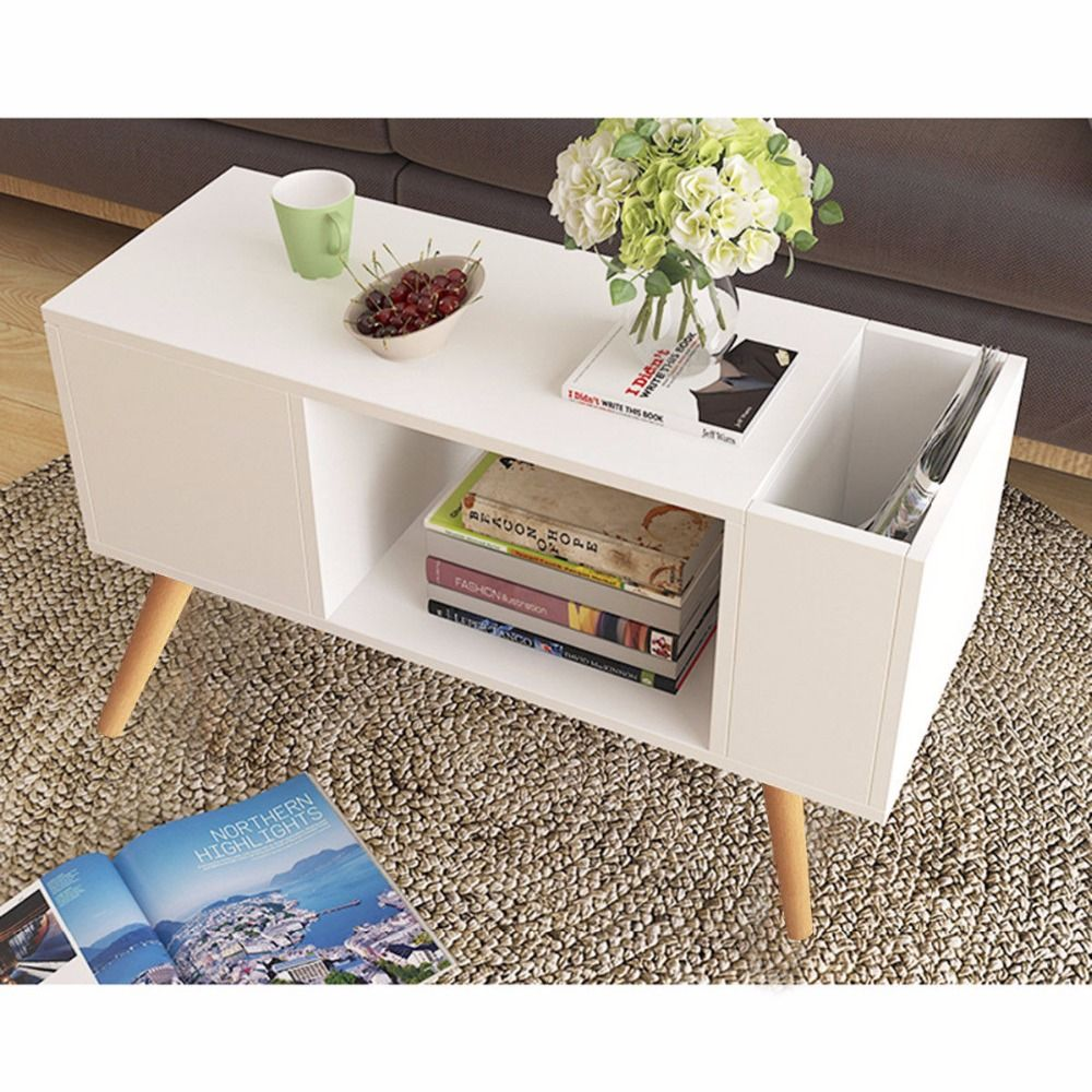 Giantex Modern Side Table End Table for Bedroom Living Room Sitting Room Drawer White Living Room Furniture HW57465