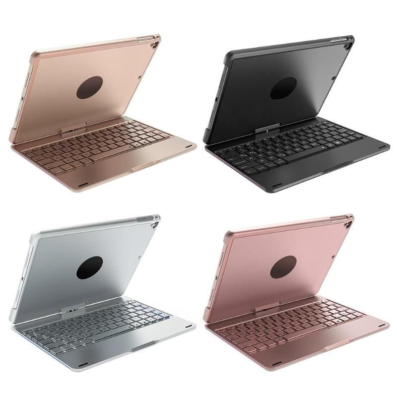 ALLOYSEED Rotating Back Cover Aluminum Bluetooth Keyboard w/Backlight for iPad Air for iPad Air2 for iPad Pro 9.7 tablet PC
