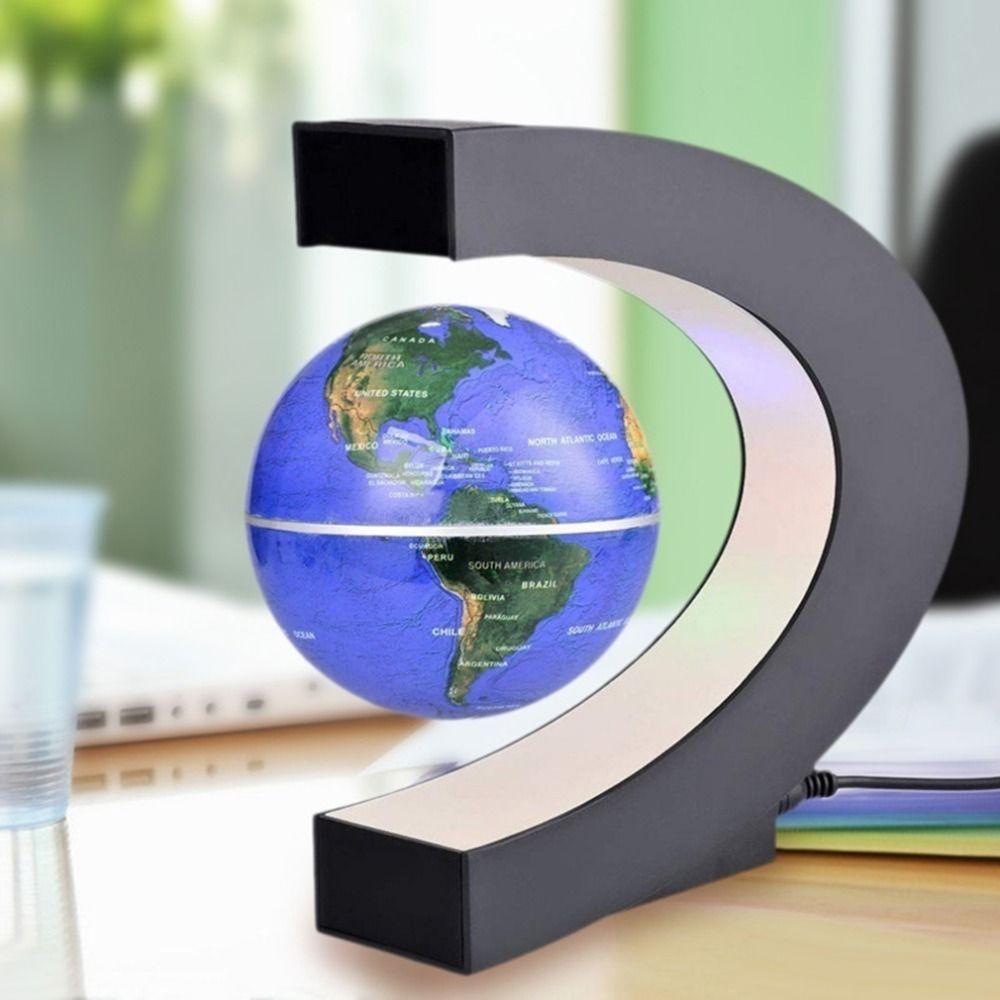 C shape Black <font><b>Blue</b></font> LED World Map Decor Home Electronic Magnetic Levitation Floating Globe Antigravity LED Light Gift Decoration