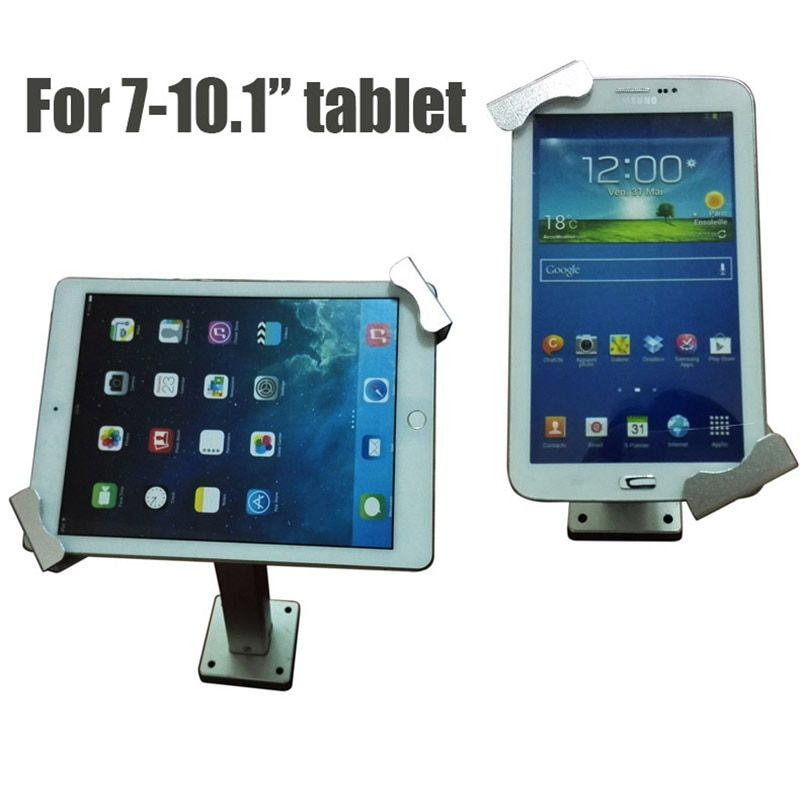 Flexible Ipad security mount metal Tablet PC display stand holder Samsung tablet lock enclosure with keys for 7-10.1