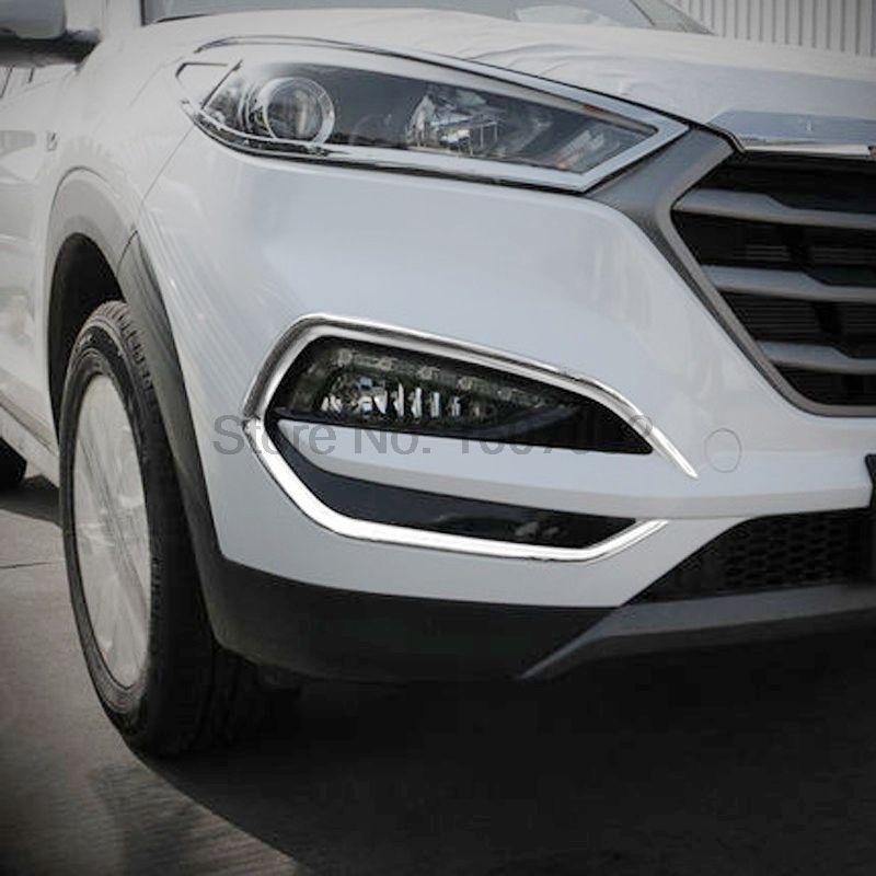 For Hyundai Tucson 2016 2017 2pcs Chrome Car Front <font><b>Foglight</b></font> Lamp Shade Cover Protectors Molding Trim Exterior Accessories