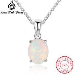 Genuine 925 Sterling Silver Luxury Oval Shape Opal Pendant Necklace Women Chain Necklaces Birthday Gifts For Wife (Lam Hub Fong)