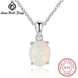 Genuine 925 Sterling Silver Pendant Luxury Oval Shape Opal Necklace Women Chain Necklaces Birthday Gifts For Wife (Lam Hub Fong)