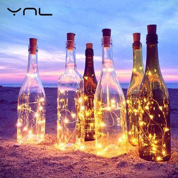YNL LED Chaîne Lumières RGB Fil De Cuivre 2 M Liège En Forme de Bouteille de Vin bouchon Flasher Guirlande lumineuse Fête De Mariage De Noël décoration
