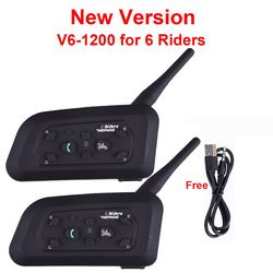 2pcs V6 Multi BT Interphone 1200M Motorcycle Bluetooth Helmet Intercom intercomunicador moto interfones headset for 6 Rider