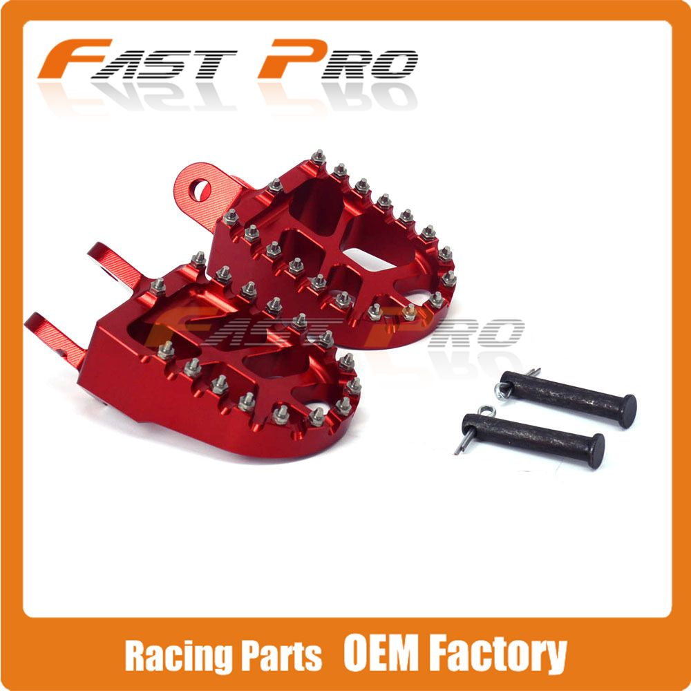 RED Billet MX Wide Foot Pegs Rests Pedals Footpegs For HONDA XR250 XR400 XR350R XR600R XR650L XR650R CR80 Dirt Bike