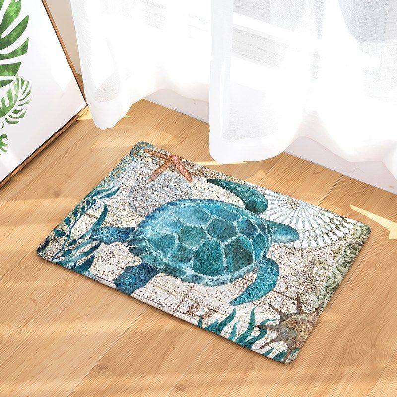 Ocean Waterproof Anti-Slip Floor Door Flannel Mat Floor Carpet for Bathroom Living Room Turtle Coral Rug Doormat Home Decor