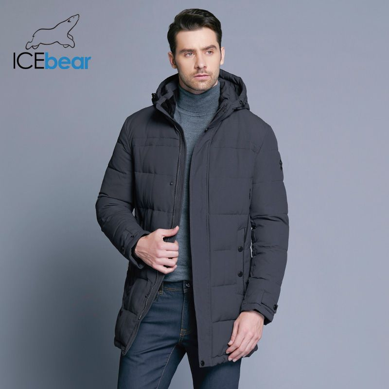 ICEbear 2018 Weichen Stoff Winter herren Jacke Verdickung Casual Baumwolle Jacken Winter Mid-Lange Parka Männer Marke Kleidung 17MD962D
