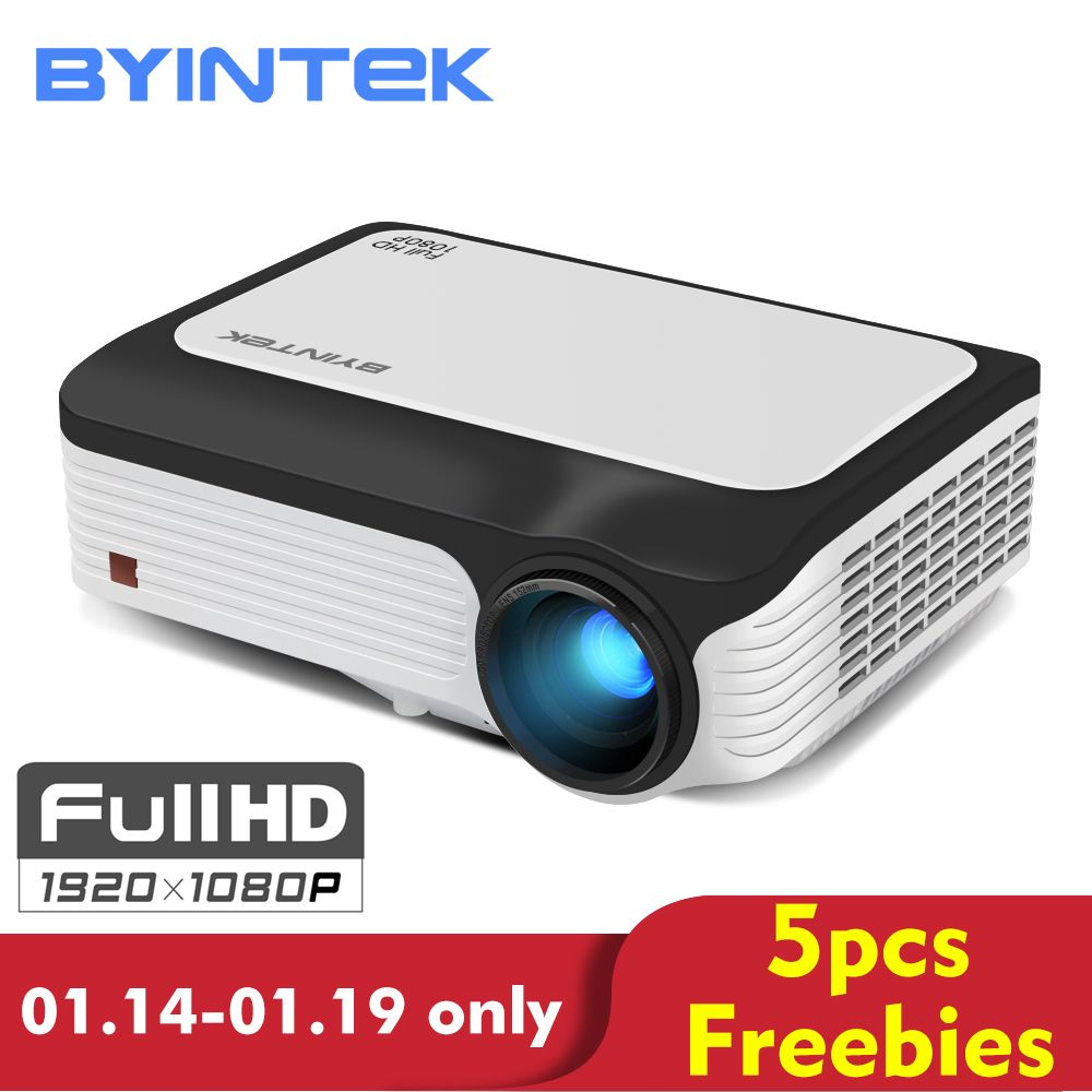 BYINTEK MOON M1080 FULL HD 1080P Portable LED Mini Projector 1920x1080 LCD 200inch Video LCD For Home Theater Game Movie Cinema