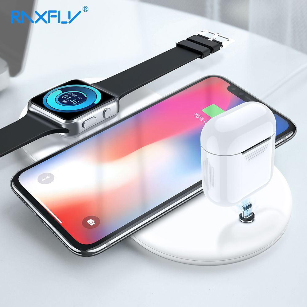 RAXFLY Wireless Charger For iPhone XS XR XS Max X 8 Plus 10W 3 in 1 Qi Wireless Charger For Samsung Galaxy Note 9 8 S8 S9 Plus