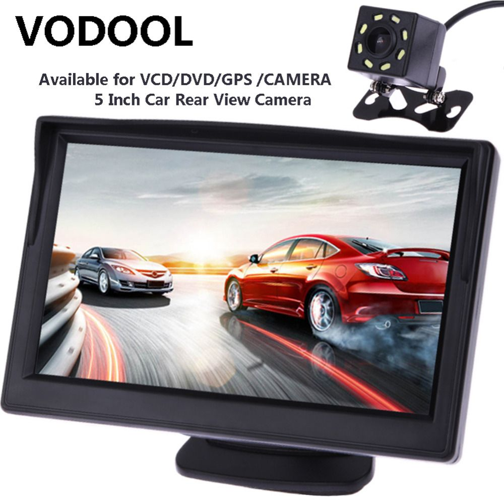 VODOOL 5 pouces TFT LCD voiture vue arrière moniteur affichage étanche Vision nocturne inversion de sauvegarde voiture caméra de recul moniteurs qualité